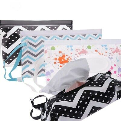 Easy-carry Wet Wipes Bag Snap Strap Wipes Clamshell Pouch Cleaning Wipes Case