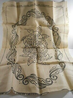 Vtg Rug Hooking Stamped Burlap Pattern #1500-A 35x24 Square Floral NO Instruct.