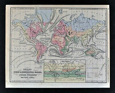 1871 McNally Physical World Map Ocean Currents Tides Surf Gulf Stream Rain Chart