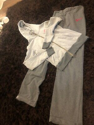 Vgc Women's Nike Tracksuit Grey With Pink Tick Size Xs