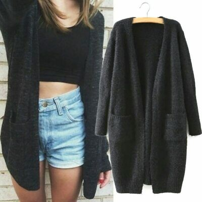 Women Knitted Cardigan Long Sleeve Loose Sweater Autumn Casual Outwear Coat Tops