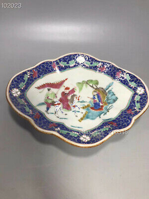 "6.8"" Chinese antique porcelain Doucai Character story pattern Shaped fruit plate"