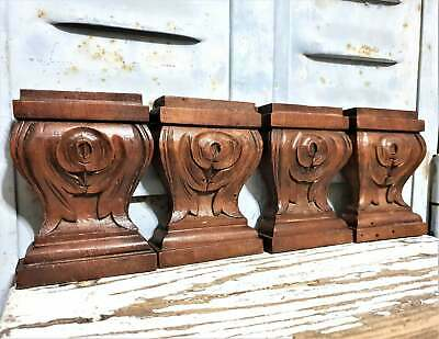 4 scroll leaves corbel bracket antique french wooden architectural salvage