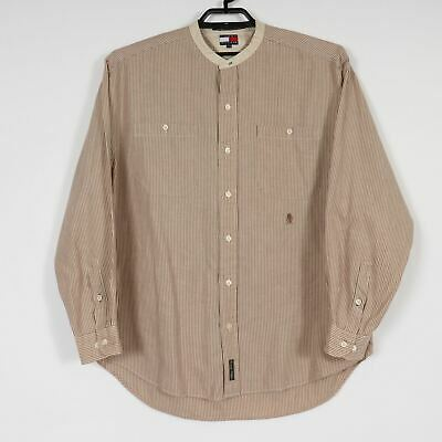 Tommy Hilfiger Mens L Brown Stripe Banded Collarless L/S  Button Down Shirt E251