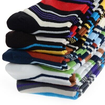 5 Pairs Striped Mens Cotton Colorful Stripes Casual Soft Ankle Women's Socks US