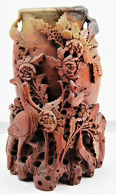 ANTIQUE Hand Carved Red Soapstone Chinese Relief Vase Floral and bird Sculpture