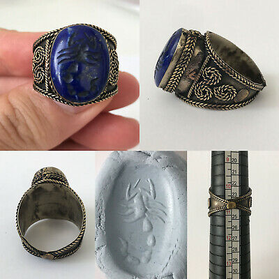 Old Lapis Lazuli Intaglio Natural Stone Scorpion Wonderful Unique Ring