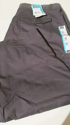 Nwt Womens Lee Relaxed Fit Capri Cargo Pants Gray Size 12
