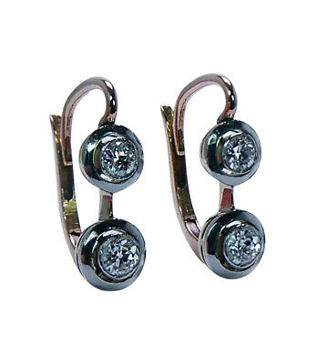 Imperial Russian Antique Old European cut Diamond Earrings 18K Gold Platinum 56