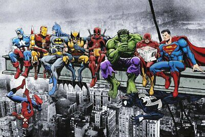 Superheroes Lunch On A Skyscraper