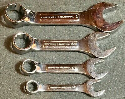 Rare 4 Stubby Craftsman Industrial Sae High Polish Raised Panel Wrenches