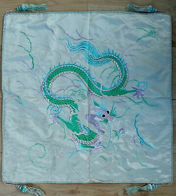 Antique 19Th Century Chinese Silk -Hand Embroidered Wall Hanging Dragon Tapestry