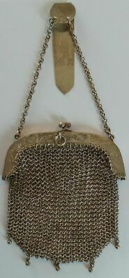 Rare Antique Chinese Export Solid Silver Wire Mesh Two Section Purse - 128 Grams