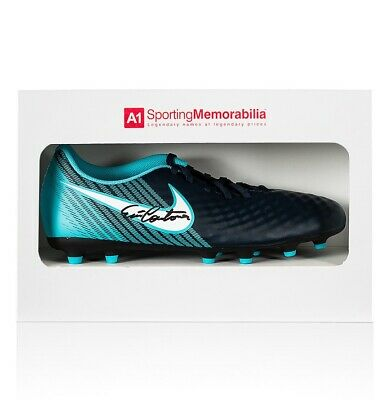 Eric Cantona Signed Nike Football Boot Blue - Gift Box Autograph Cleat