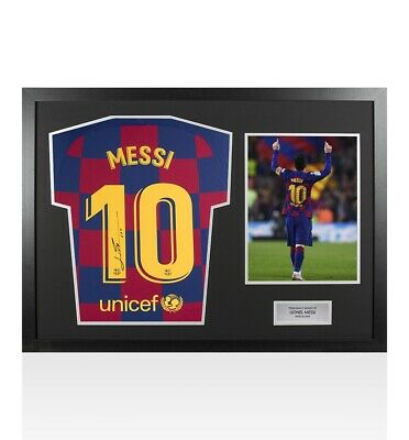 Framed Lionel Messi Signed FC Barcelona 2019-20 Home Shirt - Panoramic