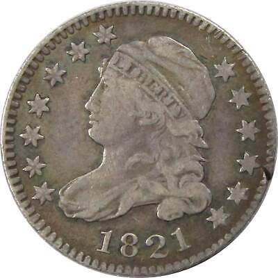 1821 Large Date 10c Capped Bust Silver Dime US Coin VF Very Fine Details