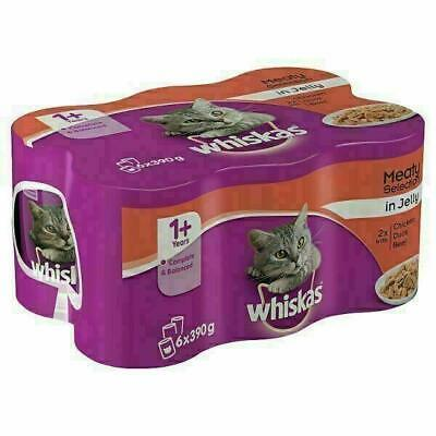 Cat food Whiskas  1+ Cat Tins Meaty Selection in Jelly 6 x 390g