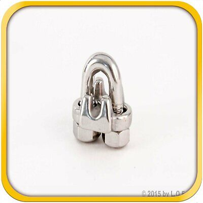 """1/8"""" 3mm Steel Stainless Wire Rope Clips Cable Saddle Clamps U Bolt Cinch Grip"""