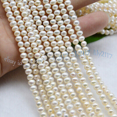 "Natural 4-5mm Real White Freshwater Pearl Loose Beads 15"" Strand AA"