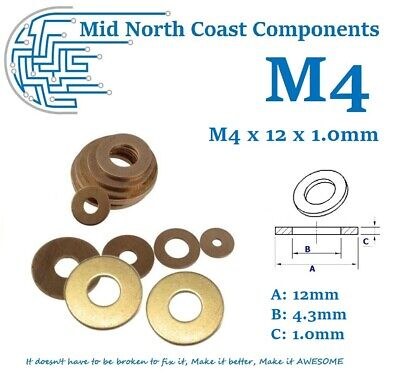 1~10pcs M4 Solid Brass Washers Spacer 12mm x 1.0mm Flat Washers Metric M4