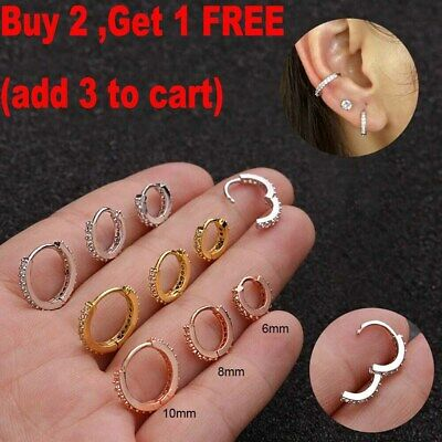 Helix Cartilage Tragus CZ Ear Piercing Daith Conch Hoop Earring Nose Ring UK