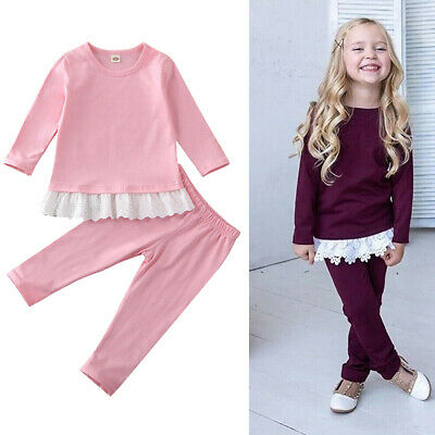 Toddler Baby Girl Clothes Lace Tops Pants Autumn Winter Outfits Set Tracksuit