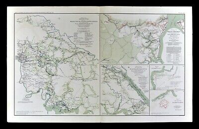 Civil War Map Yorktown Williamsburg White House Harrison Landing Virginia Battle