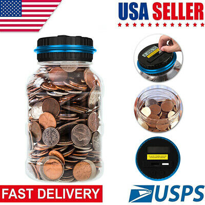 Change Counter Machine Digital Coin Money Bank Clear Digital LCD Piggy Bank US