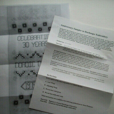 30th Anniversary Nordic Needle sampler  hardanger embroidery pattern