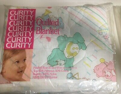 Care Bears Curity Baby Crib Quilted Blanket White Pastels NOS Vintage Lovey