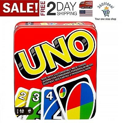 Mattel Games UNO Tin Box classic family card game card fun.for storage and trave