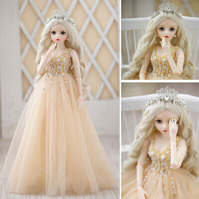 60cm BJD Doll Princess + Face Makeup + Changeable Eyes + Wigs + Clothes Gifts