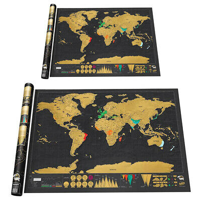 Scratch Off World Map Poster Interactive Travel Atlas Decor Large Deluxe Gift h9