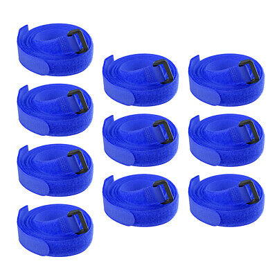 10pcs Hook and Loop Straps, 3/4-inch x 47-inch Securing Straps Cable Tie (Blue)