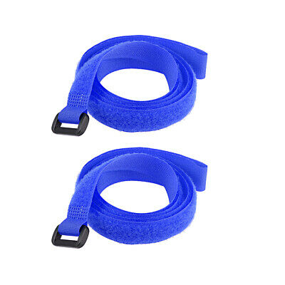 2pcs Hook and Loop Straps, 3/4-inch x 39-inch Securing Straps Cable Tie (Blue)