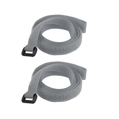 2pcs Hook and Loop Straps, 3/4-inch x 39-inch Securing Straps Cable Tie (Gray)