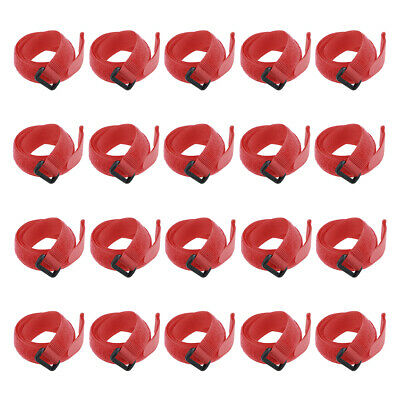 20pcs Hook and Loop Straps, 3/4-inch x 24-inch Securing Straps Cable Tie (Red)