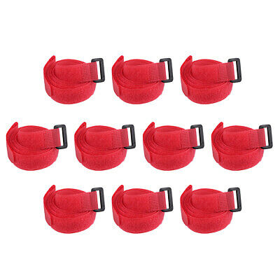 10pcs Hook and Loop Straps, 3/4-inch x 35-inch Securing Straps Cable Tie (Red)