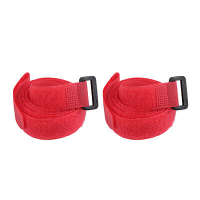 2pcs Hook and Loop Straps, 3/4-inch x 35-inch Securing Straps Cable Tie (Red)