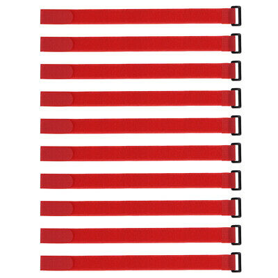 10pcs Hook and Loop Straps, 1-inch x 16-inch Securing Straps Cable Tie (Red)