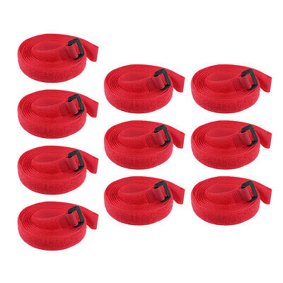10pcs Hook and Loop Straps, 3/4-inch x 59-inch Securing Straps Cable Tie (Red)