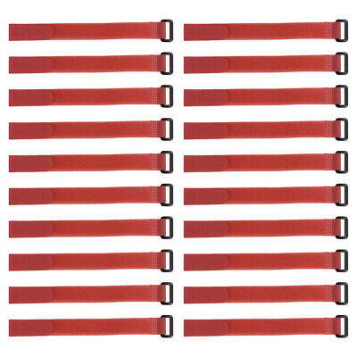 20pcs Hook and Loop Straps, 3/4-inch x 6-inch Securing Straps Cable Tie (Red)
