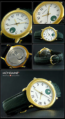 M Watch By MONDAINE Swiss Made Unisex Wristwatch Green 37 MM Gold Plated