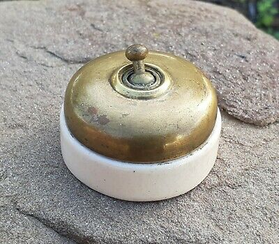VINTAGE 1930´s PORCELAIN & BRASS SWITCH LIGHT ELECTRIC