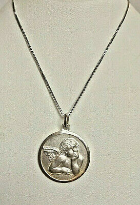 925 Sterling Silver Antiqued Satin Finish Raphael Angel Charm Pendant 20mm x 15mm