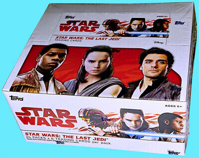 TOPPS STAR WARS THE LAST JEDI RETAIL BOX SEALED 24 packs 144 trading cards 2017
