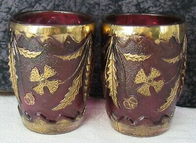 (2) Antique Victorian EAPG Delaware Pattern Amethyst Glass Tumblers