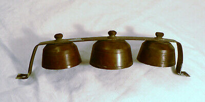 Antique Business Country Store Copper 3 Bell Ringer Missing Clappers Cabin Decor