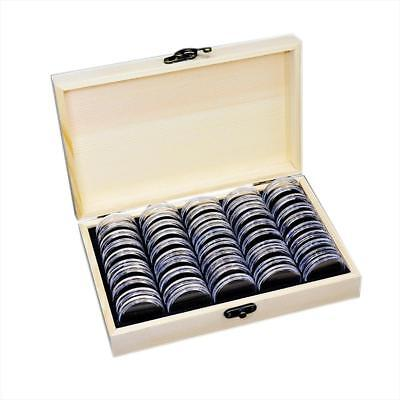 Wood Coins Display Storage Box Collectible Case for Certified Coin +50 Capsules