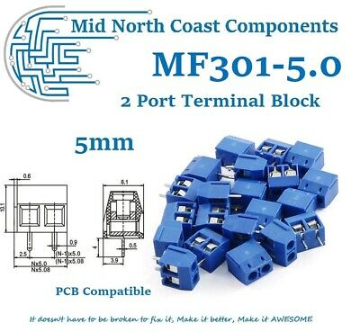 PCB 2 Port Terminal Block Connector Blue 10A 300VAC 14-22AWG 5mm Pitch Linkable